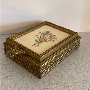 Vintage carved wood jewelry box w/ art picture